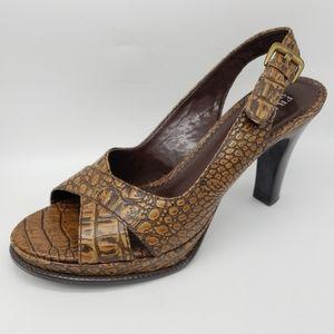 Franco Sarto Crocodile Leather Heeled Sandals